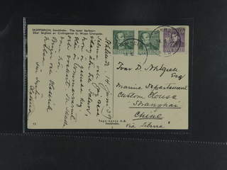 China Incoming mail. Michel 318A, 320A cover , Sweden. 2x5+10 öre on postcard sent from …