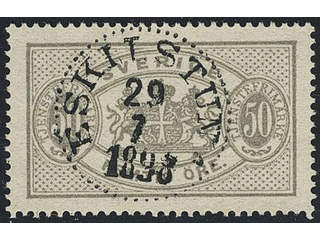 Sweden. Official Facit Tj23 used , 50 öre grey, perf 13. EXCELLENT cancellation …
