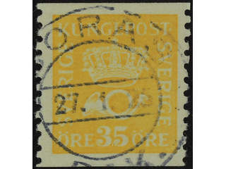 Sweden. Facit 156A used , 35 öre yellow type I. EXCELLENT cancellation BORÅS 27.1.25.