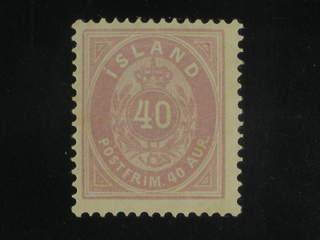 Iceland. Facit 17b ★ , 1886 Aur values 40 aur light lilac perf 14 × 13½. With minor gum …