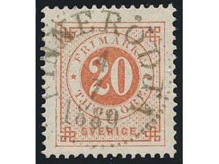 Sweden. Facit 46b used , 20 öre light orange-red. Superb cancellation FINNERÖDJA 4.7.1889.