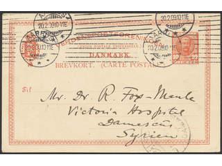 Denmark. Postal stationeryPostcard 10 øre sent from AARHUS 20.2.09 to Syria, with …