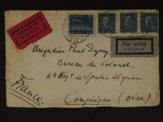 Sweden. Air mail cover Facit 183, 231 , 10+3x25 öre on special delivery air mail cover …