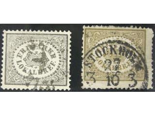 Sweden. Facit 6B, 13 used , Local stamps (3 öre) black and 3 öre brown SET (2). …