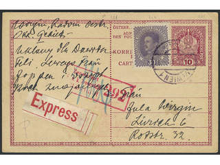 Austria. Michel 224 cover , 30 h as additional postage on postal stationery card 10 h, …