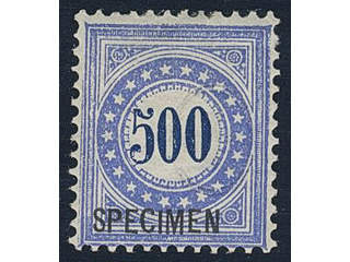 Switzerland. Postage due Michel 9 ★ , 1878 500 c blue/dull blue on white paper. with …