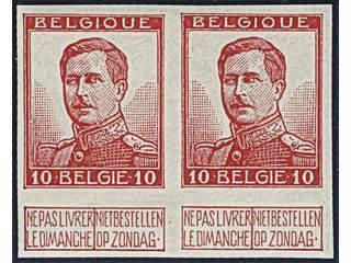Belgium. Michel 100 II ★★ , 1913 10 c rose imperf in pair. Fully gummed (proof is …