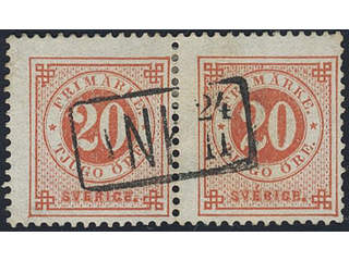 Sweden. Facit 33. FINLAND. Finnish arrival cancellation ANK 24.11 on Swedish stamps 2x20 …