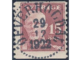 Sweden. Facit 150 used , 1920 Gustaf V full face 15 öre carmine. EXCELLENT cancellation …