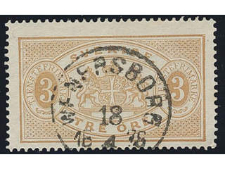 Sweden. Official Facit Tj1d used , 3 öre yellowish brown, perf 14. Superb cancellation …