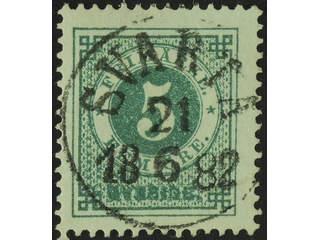 Sweden. Facit 30b used , 5 öre dull bluish green. EXCELLENT cancellation SVARTÅ 21.6.1882.