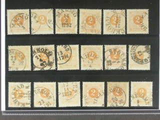 Sweden. Facit 40 used , 2 öre yellow, eighteen used copies. Shades, varieties, …