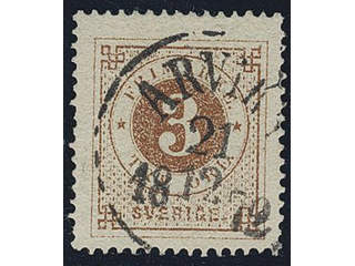 Sweden. Facit 17b used , 3 öre yellow-brown on smooth paper. Superb cancellation ARVIKA …