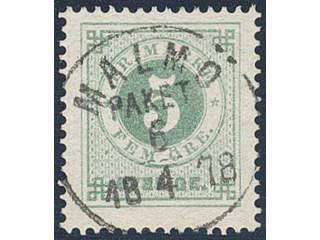 Sweden. Facit 30a used , 5 öre grey-green. EXCELLENT cancellation MALMÖ PAKET 6.4.1878.