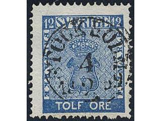 Sweden. Facit 9c1 used , 12 öre blue. EXCELLENT cancellation STOCKHOLM 4.2.1859.