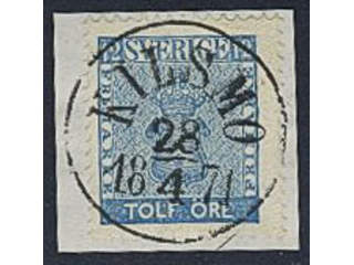 Sweden. Facit 9 used , EXCELLENT cancellation KILSMO 28.4.1871 on cut piece.