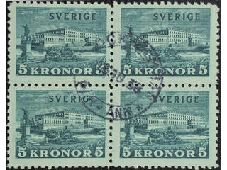 Sweden. Facit 233a used , 1931 The Royal Palace 5 Kr green, toned paper, block of four. …