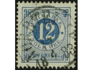 Sweden. Facit 32c used , 12 öre deep blue-ultramarine on white paper. EXCELLENT …