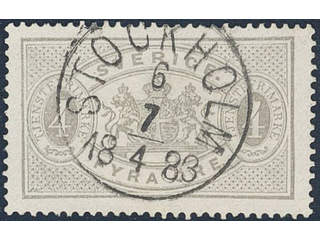 Sweden. Official Facit Tj13A used , 4 öre grey, perf 13. EXCELLENT cancellation …