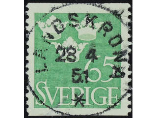 Sweden. Facit 287 used , 1949 Three Crowns 65 öre yellow-green. EXCELLENT cancellation …
