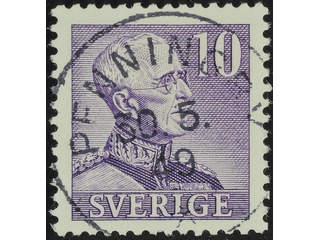 Sweden. Facit 273C1 used , 1940 Gustaf V large numerals 10 öre violet, perf at four …