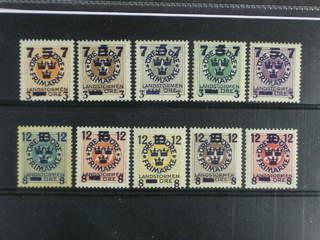Sweden. Facit 126–35 ★★/★ , 1916 Landstorm III SET (10). Eight stamps mnh.