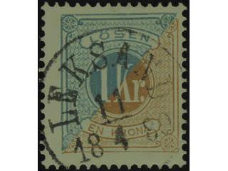 Sweden. Postage due Facit L20 used , 1 Kr blue/brown, perf 13. EXCELLENT cancellation …