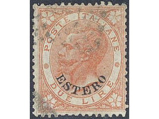 Italy Post in foreign countries. Michel 9 used , 1874 Allgemeine Estero Due Lire. EUR350
