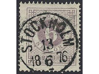 Sweden. Facit 20j used , 6 öre lilac. EXCELLENT cancellation STOCKHOLM 13.6.1876.