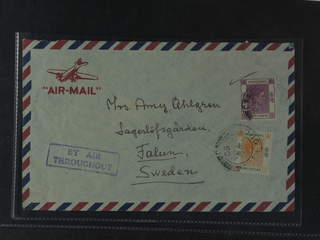 Hong Kong. Michel 153III, 156III cover , 50 c + 1 $ (with perfin) on air mail cover sent …
