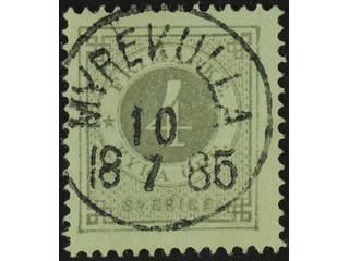 Sweden. Facit 29e, P county. MYREKULLA 10.7.1885. EXCELLENT cancellation.