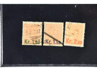 Norway. Facit 87–89 used , 1906 Surcharge on Coat-of-Arms SET (3). SEK1975