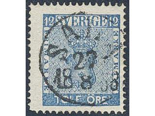 Sweden. Facit 9a2 used , 12 öre greenish blue. EXCELLENT cancellation SALA 27.8.1858. …