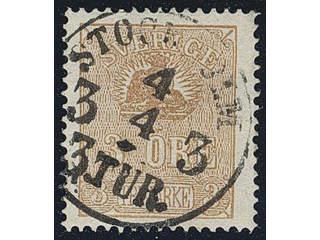 Sweden. Facit 14Bg used , 3 öre greyish orange-brown, type II. Superb cancellation …