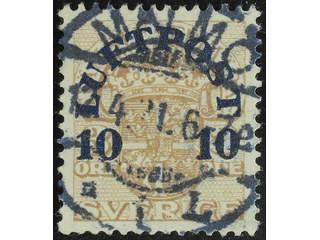 Sweden. Facit 136 used , 1920 Air Mail Surcharge 10 öre / 3 öre light brown. EXCELLENT …