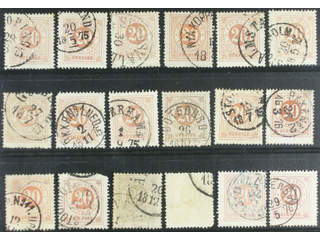 Sweden. Facit 22 used , 20 öre orange, eighteen used copies. Shades, varieties, …