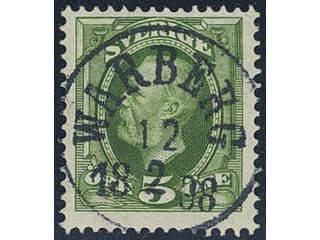 Sweden. Facit 52 used , 1891 Oscar II 5 öre green. EXCELLENT cancellation WARBERG …