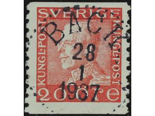 Sweden. Facit 180b used , 20 öre pale red, on white paper. EXCELLENT cancellation BÄCK …