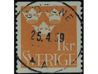 Sweden. Facit 294 used , 1939 Three Crowns 1 Kr orange. EXCELLENT cancellation GÖTENE …