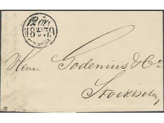 Sweden. Postage due mail. Postage due cancellation 12 ÖRE STOCKHOLM 23.8.1859 on letter …