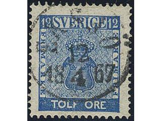 Sweden. Facit 9c3 used , 12 öre blue, perforation of 1865. EXCELLENT cancellation EKSJÖ …