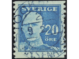 Sweden. Facit 151Abz used , 1920 Gustaf V full face 20 öre blue, perf on two sides, with …