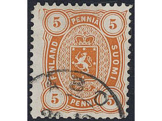 Finland. Facit 13SC2j used , 1881 Coat of Arms m/75, Senate printing 5 p orange perf …