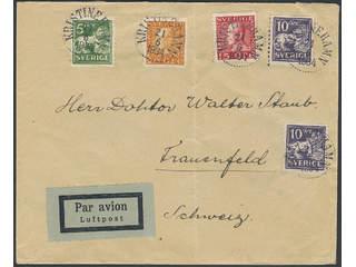 Sweden. Air mail cover Facit 143, 181, etc. , 5+2x10+15+20 öre on decorative air mail …