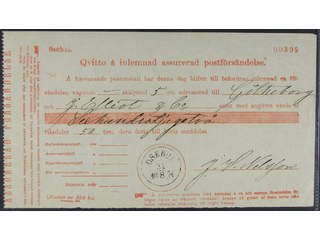 Sweden. S county. OSEBOL. Receipt for insured letter sent to Gothenburg. Postal:1500:-