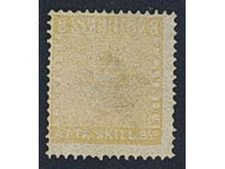 Sweden. Facit 4 used , 8 skill yellow. Thin spot and bleached due to removed ink …