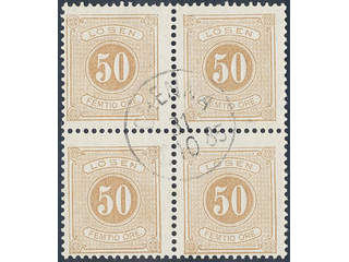 Sweden. Postage due Facit L19 used , 50 öre brown, perf 13 in block of four with …