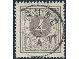 Sweden. Facit 18a used , 4 öre dark grey. Beautiful copy cancelled ...SUND 11.4.1877. …