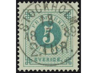 Sweden. Facit 43c used , 5 öre deep green. EXCELLENT cancellation STOCKHOLM 2.TUR …