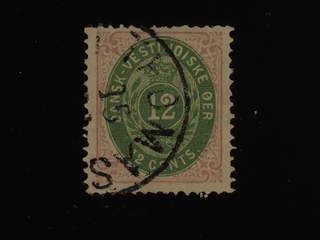 Denmark Danish West Indies. Facit 11 used , 1877 Tvåfärgad siffertyp 12 cents grön/lila, …